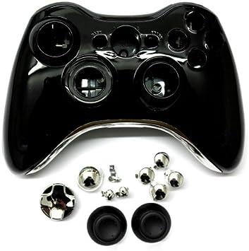 Mofun - Carcasa para mando sin cables de Xbox 360, color negro y plata cromado: Amazon.es: Electrónica