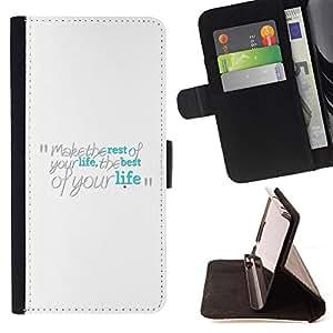 BullDog Case - FOR/LG G3 / - / Make The Best Of Your Life /- Monedero de cuero de la PU Llevar cubierta de la caja con el ID Credit Card Slots Flip funda de cuer