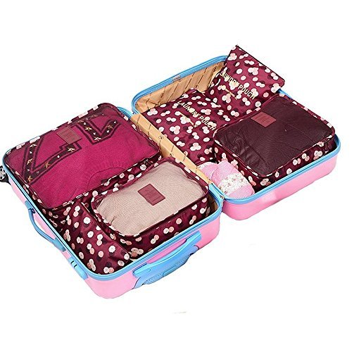 Clothes Travel Luggage Organizer Pouch (Light Pink) Set of 6 - 5