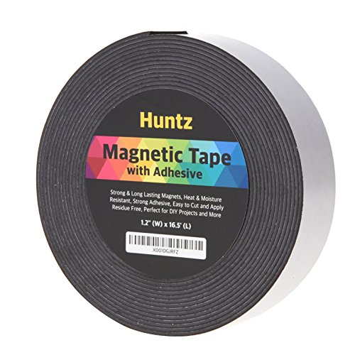 Huntz Flexible Magnetic Tape, Self- Adhesive(1.2inch x 16.5ft) / Strong & Flexible / Easy to Cut