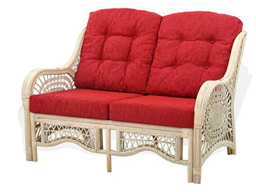 Malibu Lounge Loveseat Sofa Natural Rattan Wicker Handmade Design with Burgundy Cushions, White Wash For Sale