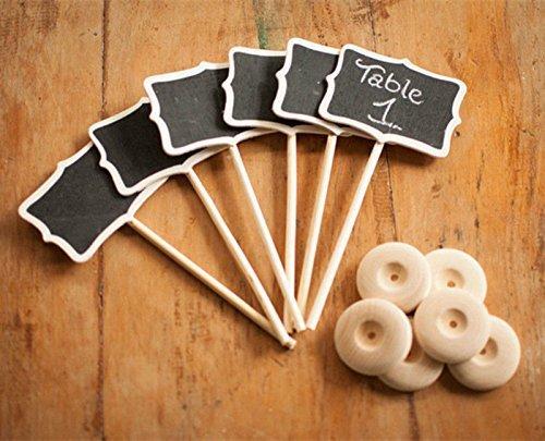 Kubert 12 Piece Mini Rectangle Blackboard Vintage Chalkboard Place Card Holder Stand for Dessert Table WordPad Message Board Holder Clip For Wedding