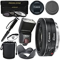 Canon EF 40mm f/2.8 STM Lens with Vivitar TTL Flash + 3pc Filter Kit + Monopod