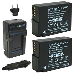 Wasabi Power Battery (2-Pack) and Charger for Panasonic DMW-BLC12, DMW-BLC12E, DMW-BLC12PP and Lumix DMC-FZ200, DMC-FZ300, DMC-FZ1000, DMC-FZ2500, DMC-G5, DMC-G6, DMC-G7, DMC-GX8, DMC-G85, DMC-GH2