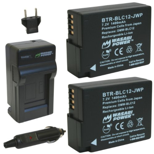 Wasabi-Power-Battery-2-Pack-and-Charger-for-Panasonic-DMW-BLC12-DMW-BLC12E-DMW-BLC12PP-and-Lumix-DMC-FZ200-DMC-FZ300-DMC-FZ1000-DMC-FZ2500-DMC-G5-DMC-G6-DMC-G7-DMC-GX8-DMC-G85-DMC-GH2