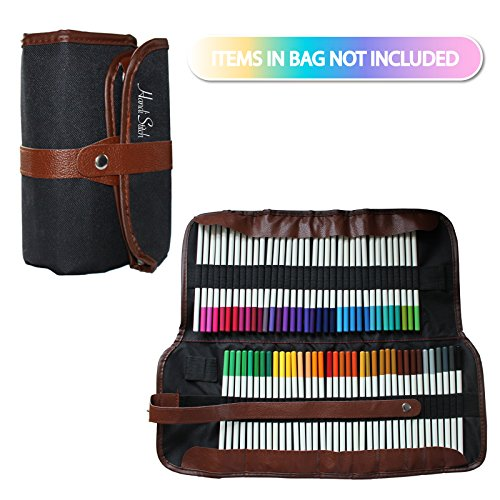 72 Piece Colored Pencils Coloring Set with Roll up Organizer Case by Handi Stitch - Vibrant Colors for Adult and Kids Coloring Books, Drawing, Art and Blending Pencil Kit