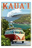 Lantern Press Kauai, Hawaii- Camper Van Coastal (12x18 Aluminum Wall Sign, Wall Decor Ready to Hang)