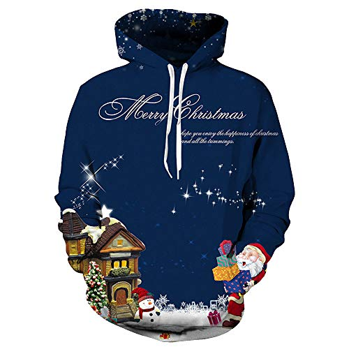 Christmas Hoodies Duseedik Long Sleeve Hooded 3D Printed Christmas Pullover Sweatshirt Tops Blouse for $<!--$8.34-->
