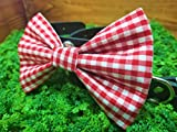 Red Gingham Checkered Pet Bow Tie