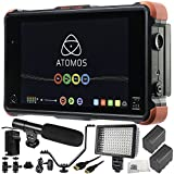 Atomos Ninja Flame 7'' 4K HDMI Recording Monitor 12 PC Accessory Bundle Includes 160 LED Light + 2 Replacement F970 Batteries + Mini HDMI Cable + AC/DC Rapid Home & Travel Charger + More