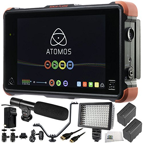 "Atomos Ninja Flame 7"" 4K HDMI Recording Monitor 12 PC Accessory Bundle Includes 160 LED Light + 2 Replacement F970 Batteries + Mini HDMI Cable + AC/DC Rapid Home & Travel Charger + More from SSE"