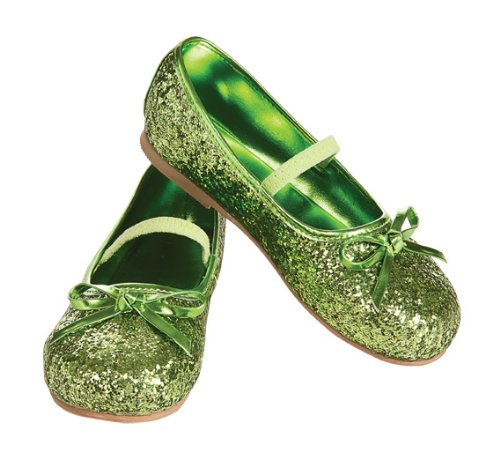 Fairy Shoes (Child's Green Glitter Costume Flats, Large)