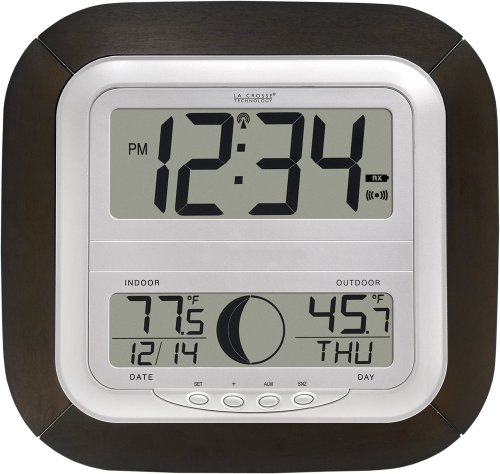 La Crosse Technology WS-8418U-IT Atomic Digital Wall Clock with Moon Phase - Moon Display