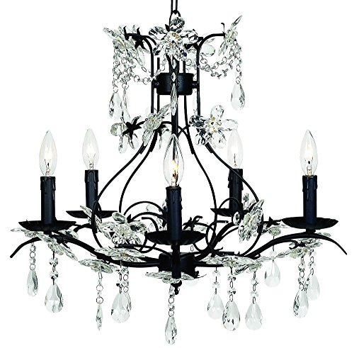 Jubilee Collection 7107 5 Arm Cinderella Chandelier, Black Jubilee Lighting 5 Arm