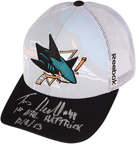 (Tomas Hertl San Jose Sharks Autographed Cap with 1st NHL Hat Trick 10/8/13 Inscription - Fanatics Authentic Certified)