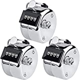 KTRIO Pack of 3 Stainless Steel Hand Tally Counter 4 Digit Tally Counters Mechanical Palm Counter Clicker Counter Handheld Pitch Click Counter Metal Number Count for Row, People, Golf, Lap & Knitting