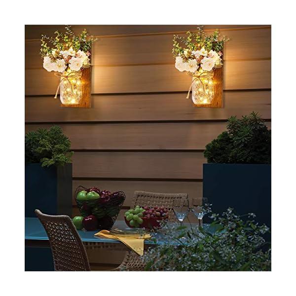 MMTX Applique da Parete Rustica, Mason Jar Sconce Decorazione da Parete con luci LED Strip Design per Giardino di casa Decorazioni Natalizie (2pcs) 4 spesavip