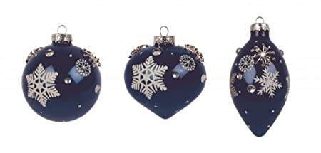 set of 3 large luxury midnight blue navy blue white snowflake design glass christmas