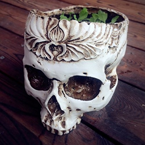 Persx Peculiar Halloween Easter Gift Resin Gothic Skull Head Flower Pot Planter Container Home Bar Ornament Decor