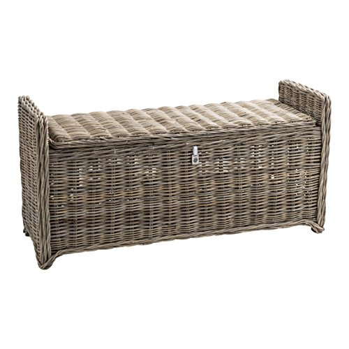 Maine Furniture Co. Key Largo Storage Bench, Wood, Multicolour, 120 x 30 x 30 cm