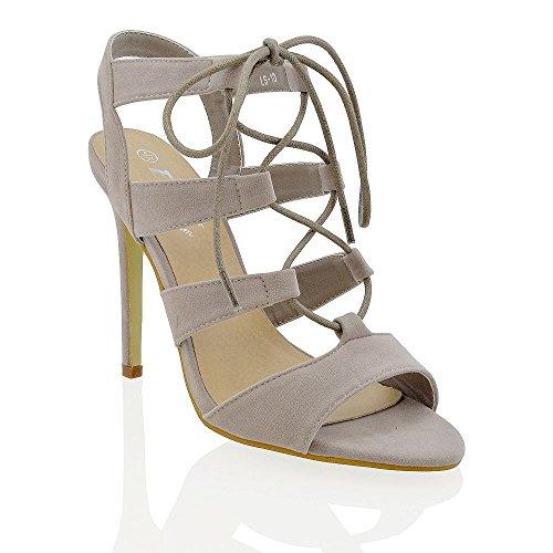 Essex Glam Donna Tacco Gladiatore Allacciata Cravatta Peep Toe Sandali Con Tacco A Spillo In Finta Pelle Scamosciata Grigio