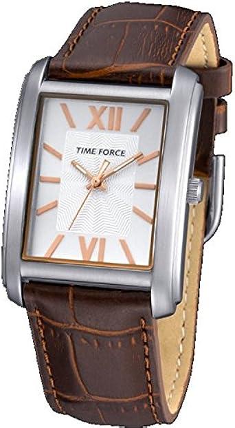Time Force Tf4057l05 Reloj Analogico para Mujer Caja De Acero Inoxidable Esfera Color Plateado
