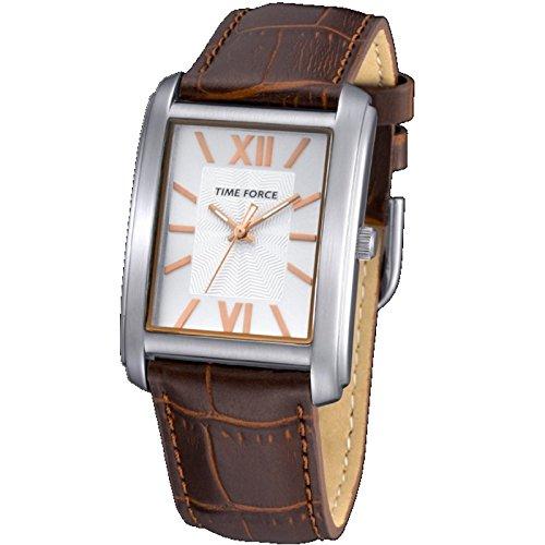 Reloj TIME FORCE de señora. Acero. Correa de piel marrón Esfera plateada. TF-4057L05: Amazon.es: Relojes