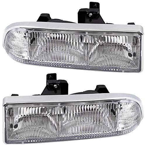 (BROCK Driver and Passenger Headlights Headlamps Replacement for Chevrolet Pickup Truck SUV 16526217 16526218)