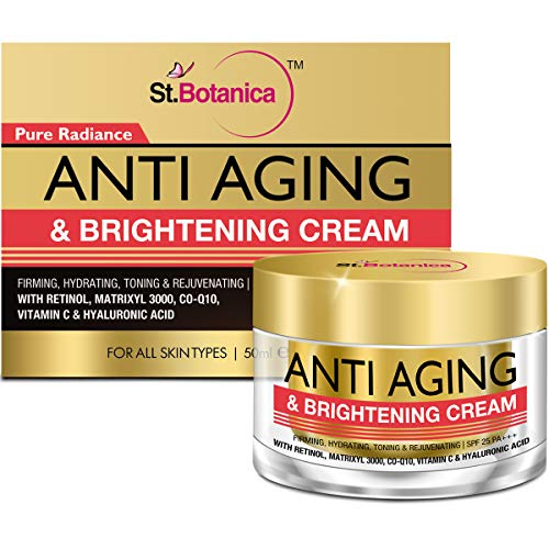 StBotanica Pure Radiance Anti Aging Face Brightening Cream, SPF 25 – Firming, Hydrating, Toning Rejuvenating – 50g – With Retinol, Matrixyl 3000, Vitamin C, CoQ10, Hyaluronic Acid and Extracts