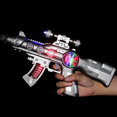 Fun Central AT928 15 Inch LED Light Up Spinning Orb Blaster Toy Gun with Shooting Sounds, Light Up Spinning Orb Blaster, Spinning Orb Blaster Gun - for Party Favors, Gifts, Prizes, Rewards, Giveaways by Fun Central