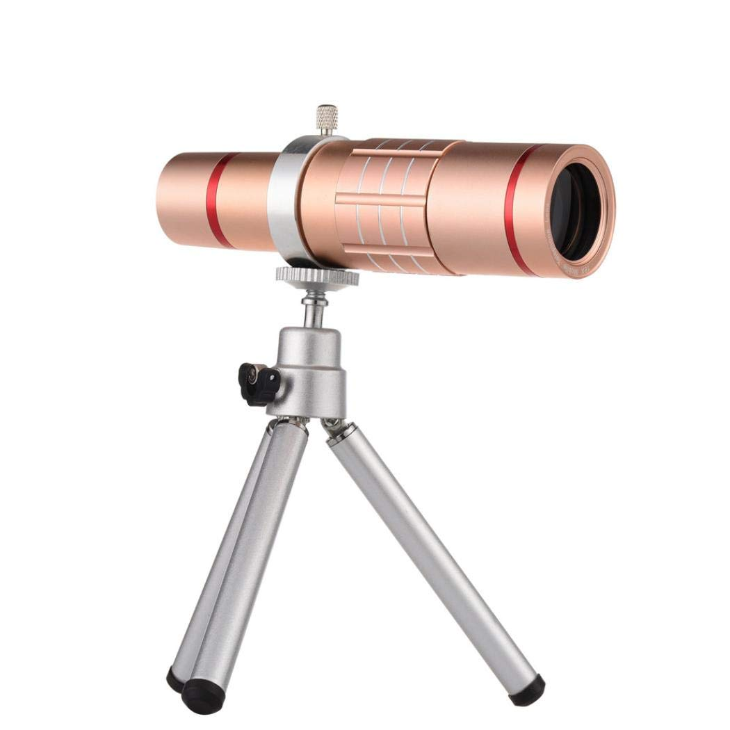 Sonmer HD 18x Optical Zoom Smartphone Camera Aluminum Alloy Telescope, With Clip Tripod (Pink)