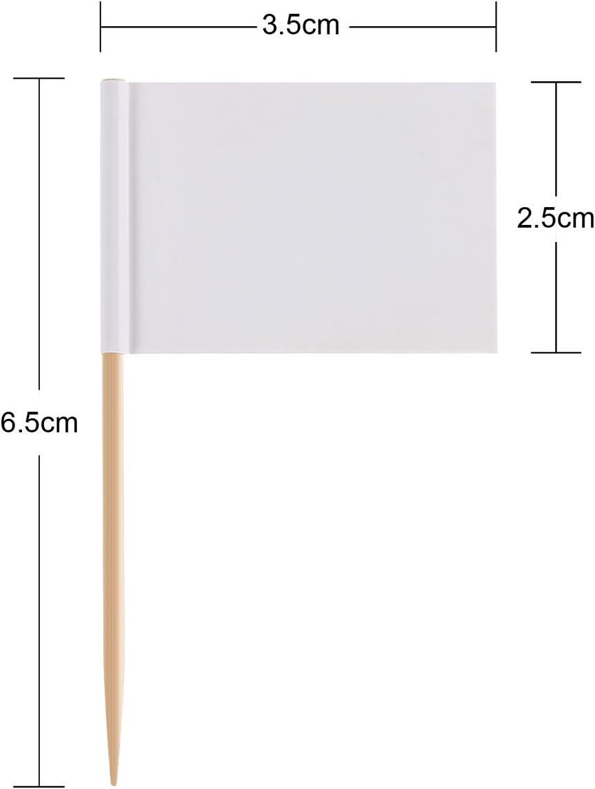 100 Vuoto Bandiere Stuzzicadenti Marcatori Formaggio Bandiere Bianche Etichettatura Marcatura per Festa Torta Cibo Piatto del Formaggio Antipasti