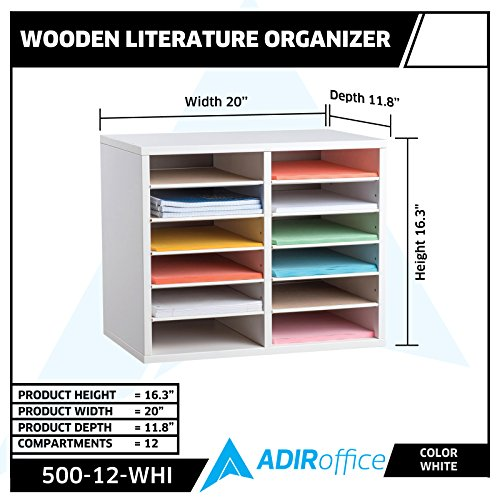 AdirOffice Orange Wood Adjustable 36 Compartment Literature Organizer