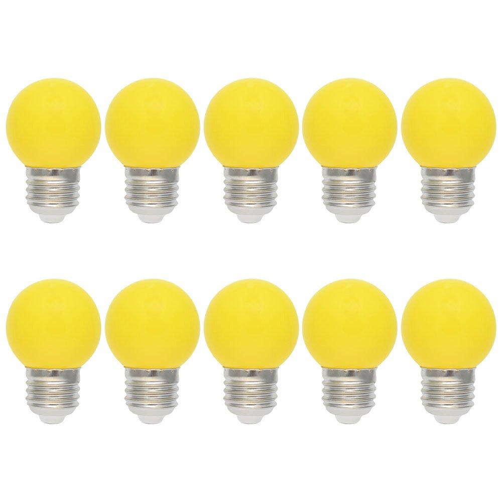 10X E27 Bombilla de Color 1W Amarillo LED Lámpara 100LM Globo Colores LED Material de PC Conveniente para Decoración AC220V-240V: Amazon.es: Iluminación