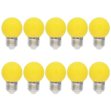 10X E27 Bombilla de Color 1W Amarillo LED Lámpara 100LM Globo Colores LED Material de PC