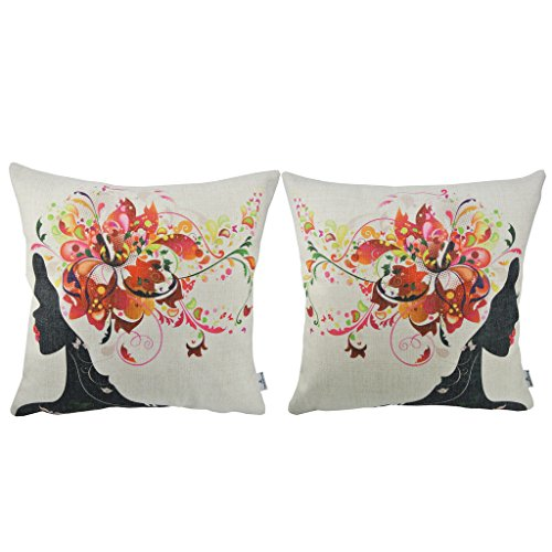 Thannksliving 2pcs Fresh Style Throw Pillow Cover Hot Flowers Twin Girls Decorative Home Office Sofa Throw Pillow Case 18 X 18 Inches 45 X 45 Cm Red Lips