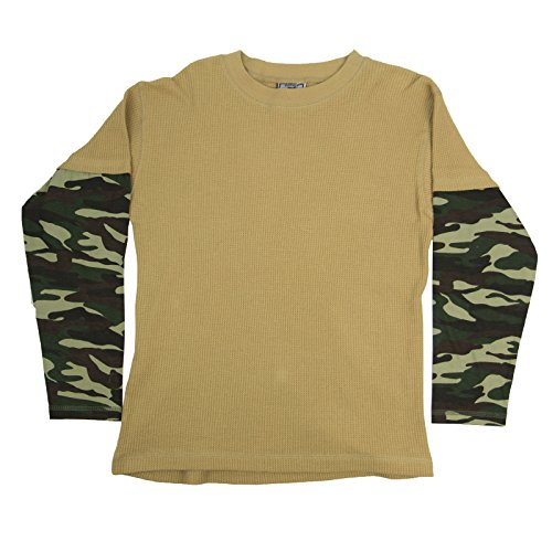 Platinum Mac Henry Boys Camo Long Sleeve Shirt Khaki Size ()