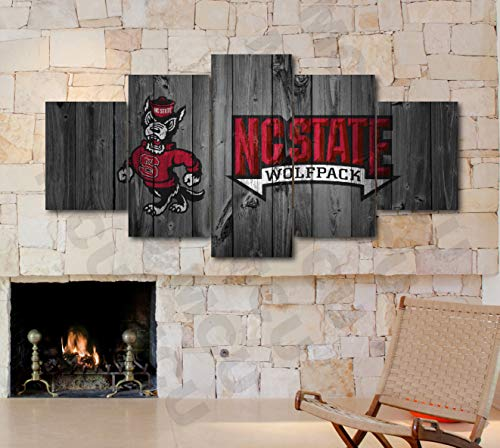 5 Piece American Football College University Teams Art Decor Wall Poster (5 Piece Medium, NC State Wolfpack)