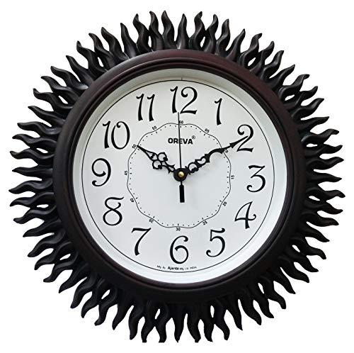 Oreva Plastic Wooden Look Designer Wall Clock (32.5 x 32.5 x 4.8 cm, Cola, AQ 6207)