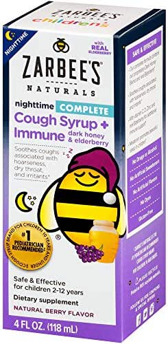 Zarbee's Naturals Children's Complete Cough Syrup* + Immune* Nighttime, Berry Flavor, 4 Ounce Bottle