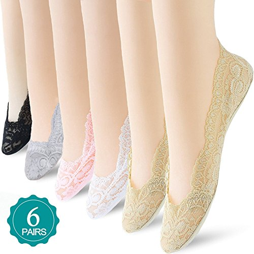 Low Liner (6 Pairs No Show Socks Lace Women No Show Liner Socks Womens No Show Socks Thin Low Cut Casual Socks Non Slip (Assorted 2))