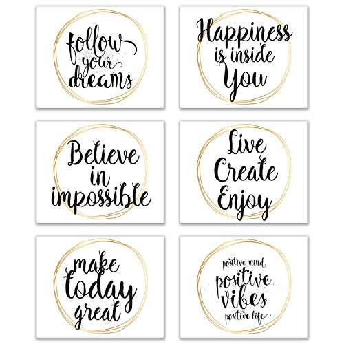 Infinity Creations Inspirational Wall Art: Phrases of Zen/Wisdom-Set of 6 Unframed Glossy Photos (8