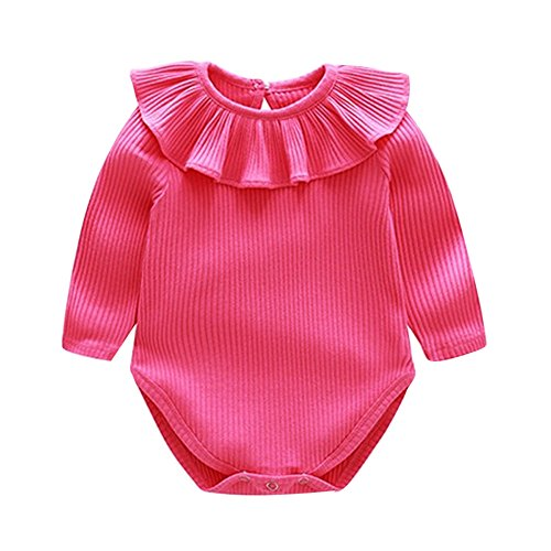 Londony  Newborn Kids Baby Boys' Short-Sleeve Onesies Bodysuit Summer Lace Romper Jumpsuit Bodysuit Sunsuit Outfits Hot Pink ()