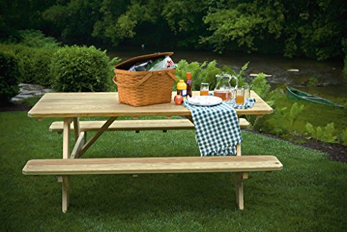 6 Ft Pressure Treated Pine Picnic Table with Attached Benches - Cedar - Picnic Pressure Table Treated