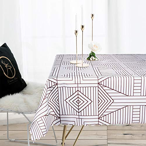 LEEVAN Heavy Weight Vinyl Square Table Cover Wipe Clean PVC Tablecloth Oil-Proof/Waterproof Stain-Resistant-54 x 84Inch(Brown Diamond) ()