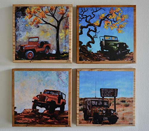 Fine Art Coasters, set of 4 Jeeps, drink coaster, wood, jeep, willys, CJ, distressed, car, truck, fathers day, gift, man, men, present