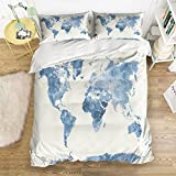 Full Size Bedding Set- World Map Duvet Cover Set Bedspread for Childrens/Kids/Teens/Adults, 4 Piece