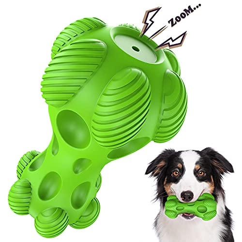 NOUGAT Tough Dog Toys, Squeaky Dog Toys for Medium Large Dogs, Natural Rubber, Beef Flavor
