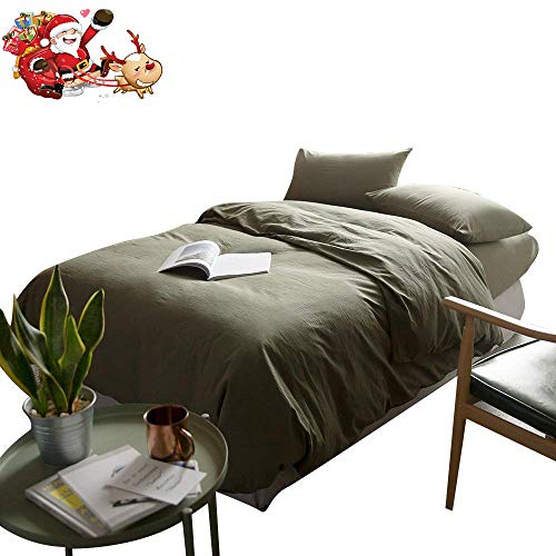 - mixinni Luxury Solid Color 3 Pieces Duvet Cover Set Queen Green 100% Natural Washed Cotton 1 Duvet Cover 2 Pillowcases Hotel Quality Soft Breathable Hypoallergenic with Zipper Ties-Full/Queen