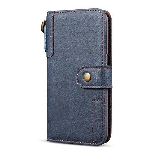 SRY-Funda móvil Samsung para Samsung Galaxy S7 Cover Funda de cuero Premium con ranuras para tarjetas y cordón ( Color : Red ) Blue
